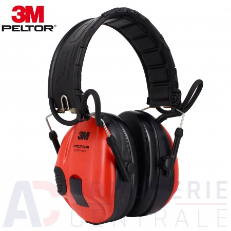 Casque 3M Peltor Sporttac rouge + coquilles noirs