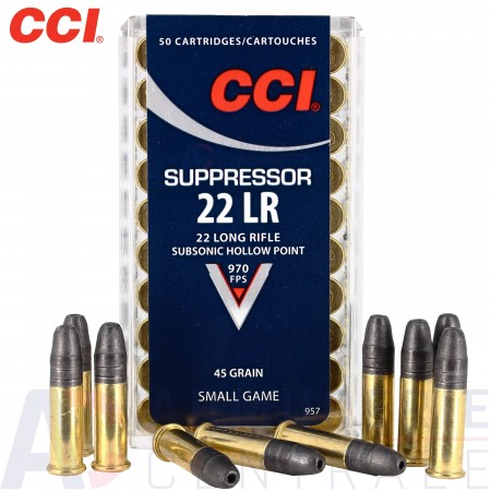 Cartouches CCI 22 LR Suppressor subsonic x50