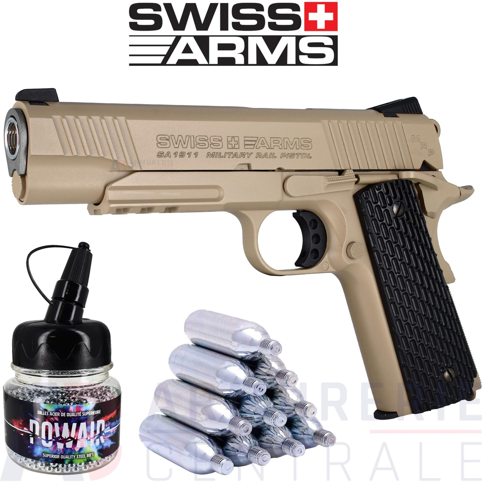 Swiss Arms COLT SA1911 Military TAN CO2 4.5mm BB's (1.6 Joules)