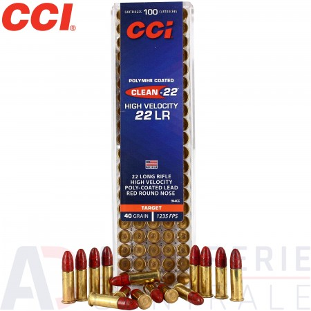 100 cartouches CCI  Clean 22LR HV Red 40 gr
