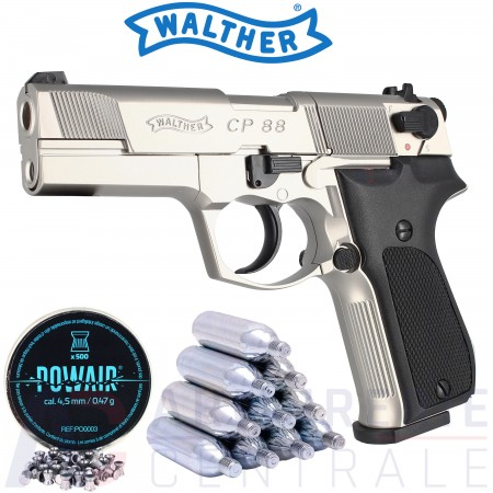 Pistolet Walther CP88 CO2 chrome 4.5 mm (3.5 joules)